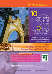 10th Malaysian International ORL-HNS Congress & 38th Annual General Meeting of the MSO-HNS @ Perdana Hotel, Kota Bharu, Kelantan, Malaysia | Kota Bharu | Kelantan | Malaysia